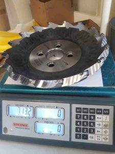 Measured weight of the 315mm milling head.